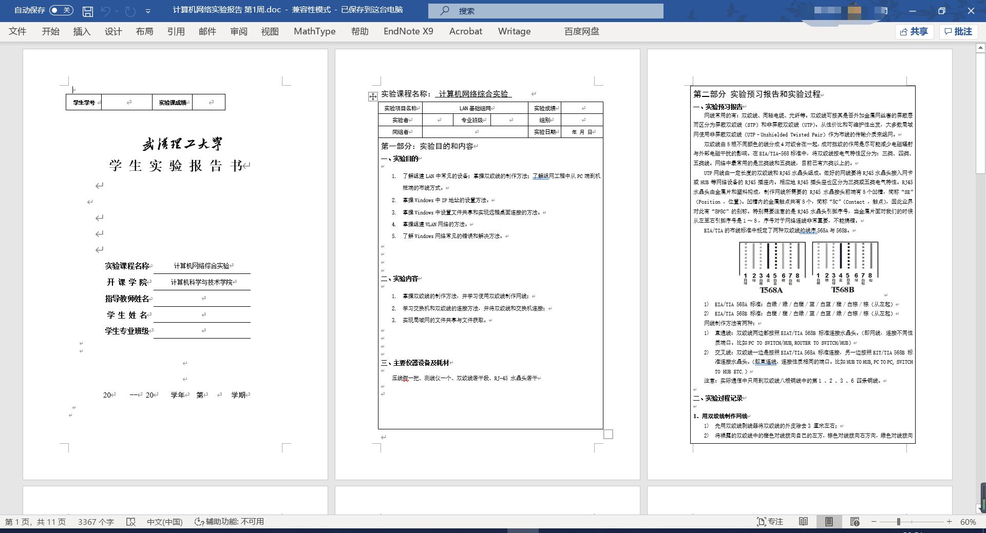 《计算机网络综合实验》课程报告书